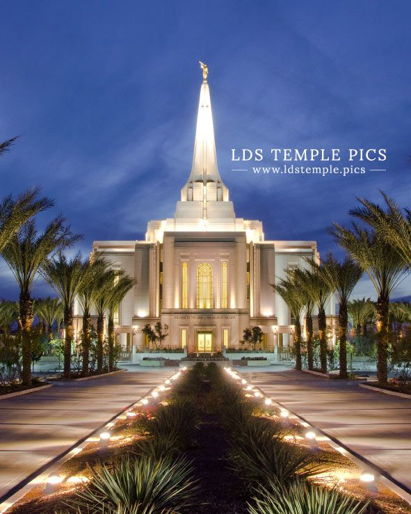 Gilbert Temple Entrance Dusk | LDS Temple Pictures