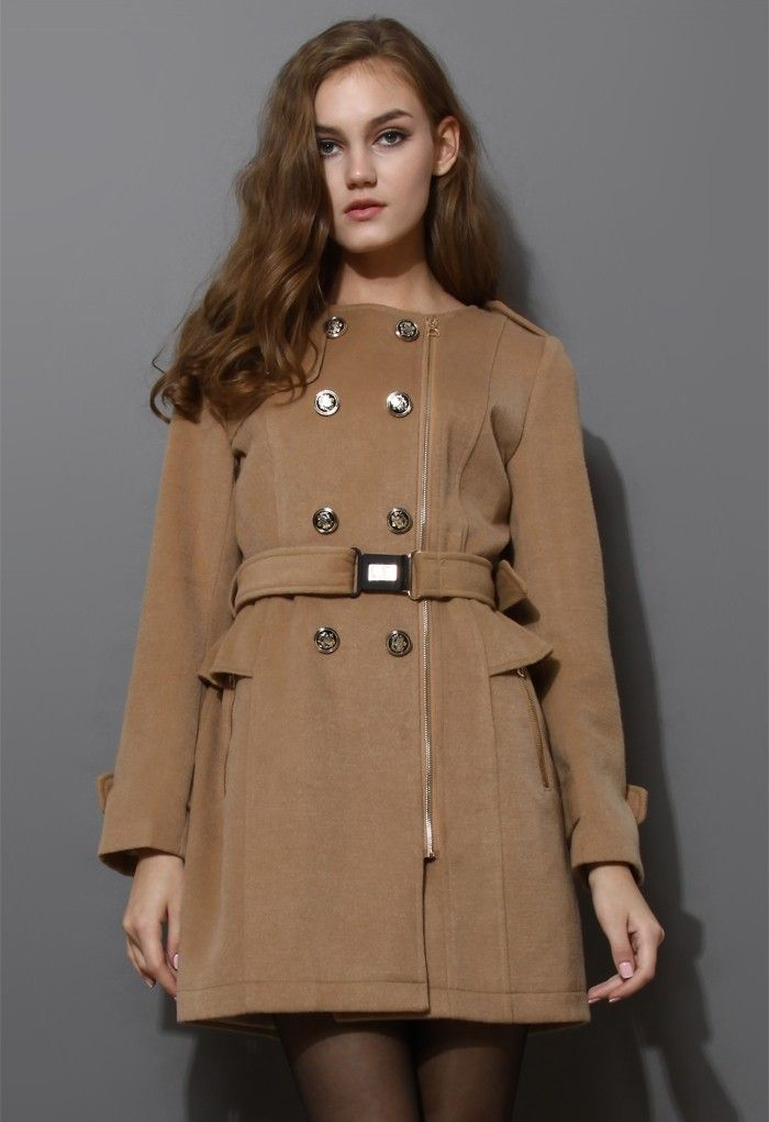 ChicWish Camel Peplum Wool-blend Coat with Belt $115
