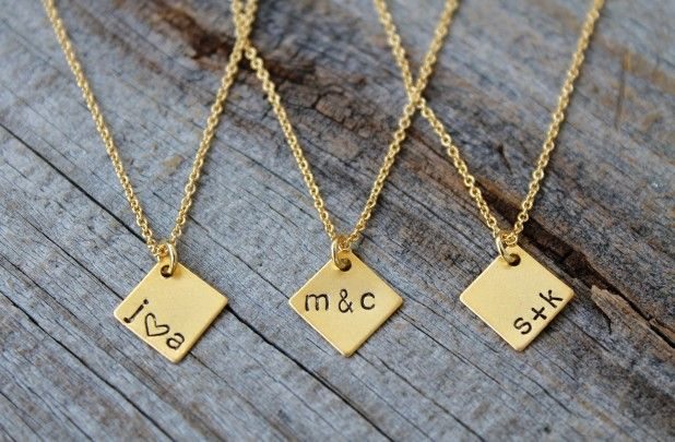 """""""Personalized Hand Stamped Necklace"""" center-aligned, with a&k or a+k  (from: https://www.etsy.com/shop/JewelryVV ).  -KWA"""