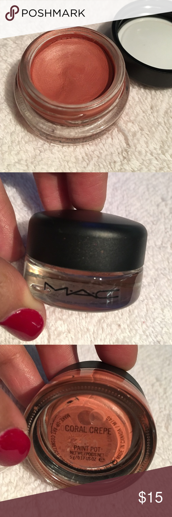 MAC paint pot in Coral Crepe. Gently used Mac paint pots