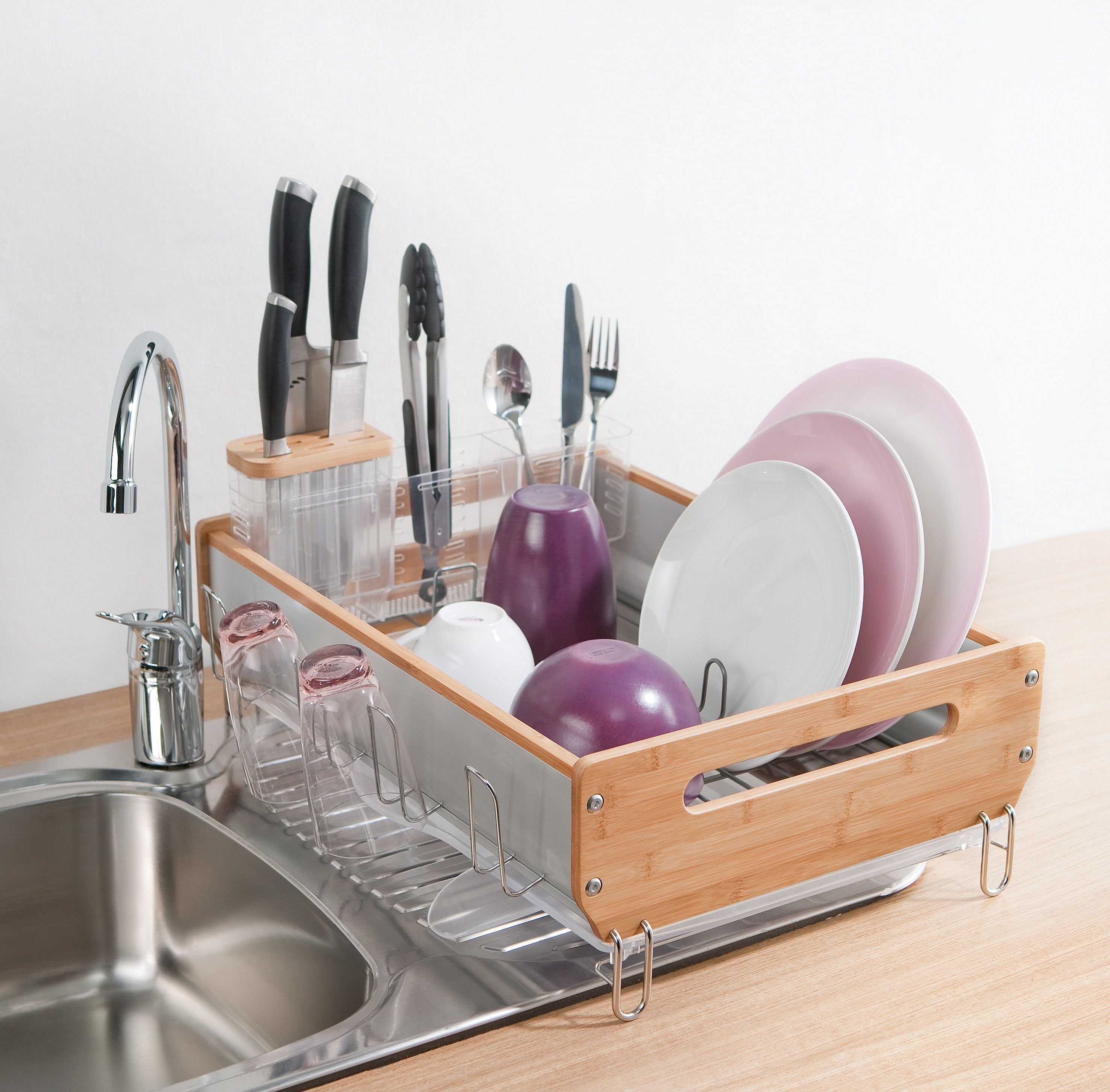 Simplehuman Bamboo Dish Rack Review Dish Rack Drying Kitchen