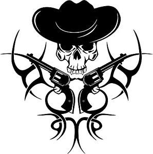 Tribal Cowboy Skull Gun Western Rodeo Car Truck Window Vinyl Decal - Cowboy custom vinyl decals for trucks