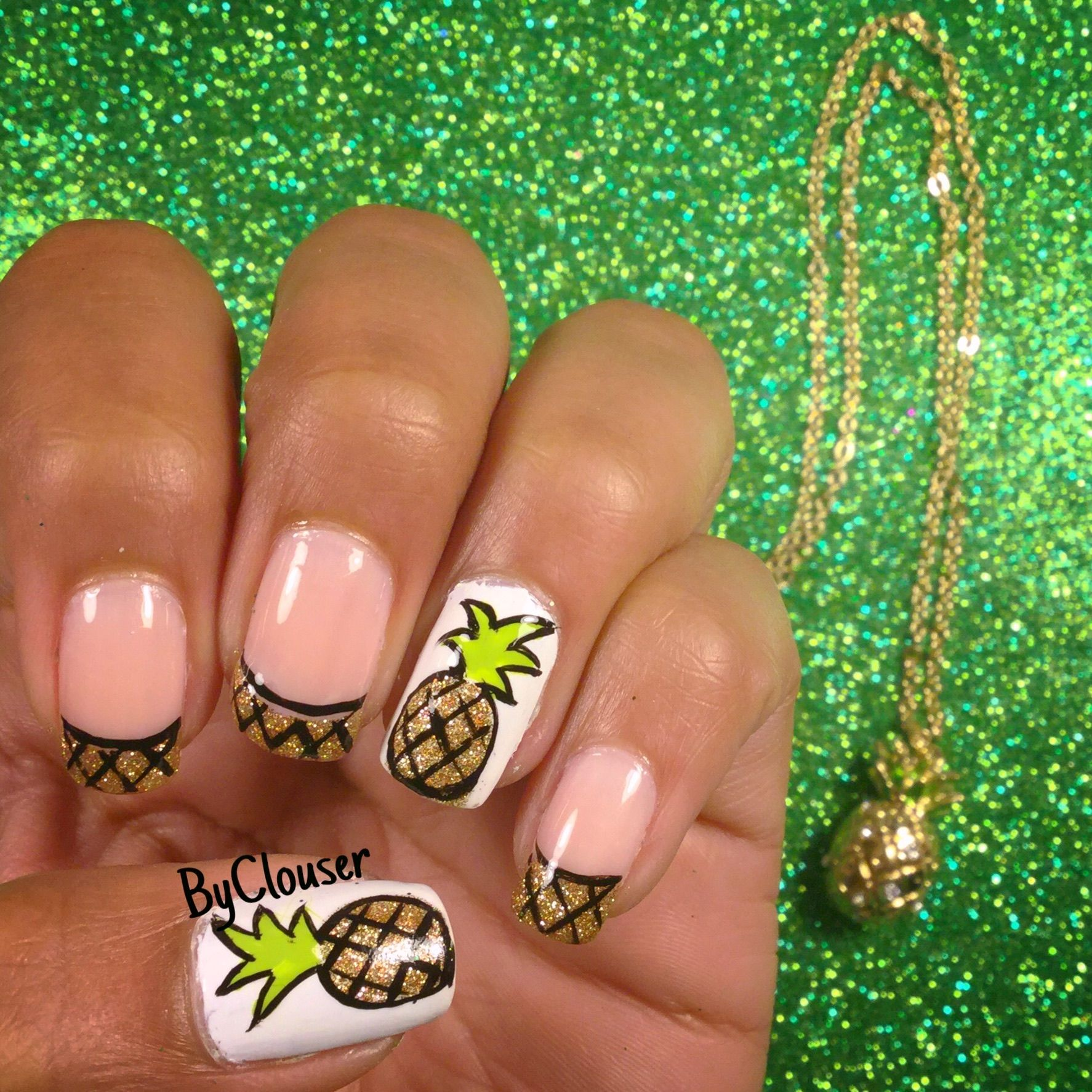 Pineapple nail art | piña diseño de uñas | find the tutorial on my ...