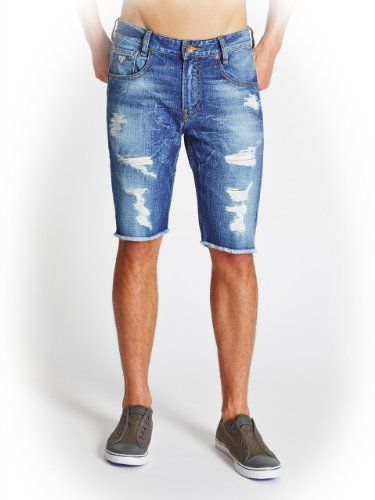 GUESS Men's Alameda Slim-Fit Destroyed Denim Shorts in Hickory Wash,  HICKORY WASH (38) GUESS,http://www.ama… | Cool mens shorts, Mens shorts,  Destroyed denim shorts