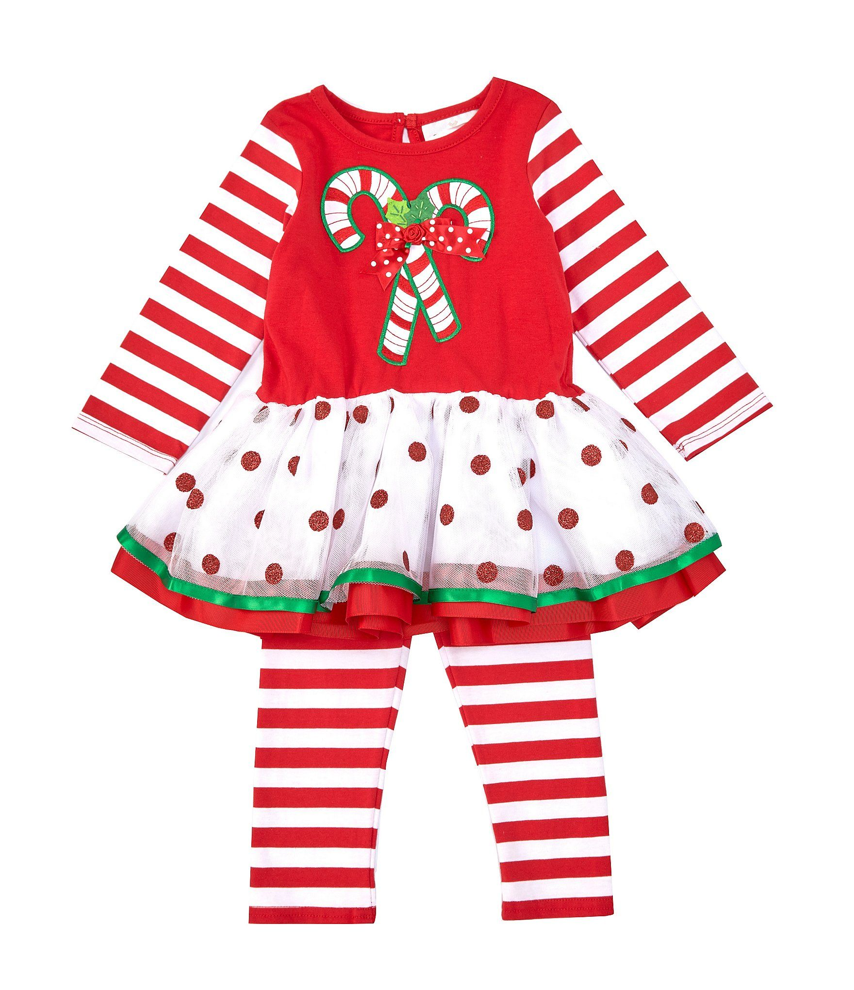Rare Editions Baby Girls 12-24 Months Christmas Candy Cane Dress  Striped Leggings Set - Apple Green 24 Months #stripedleggings