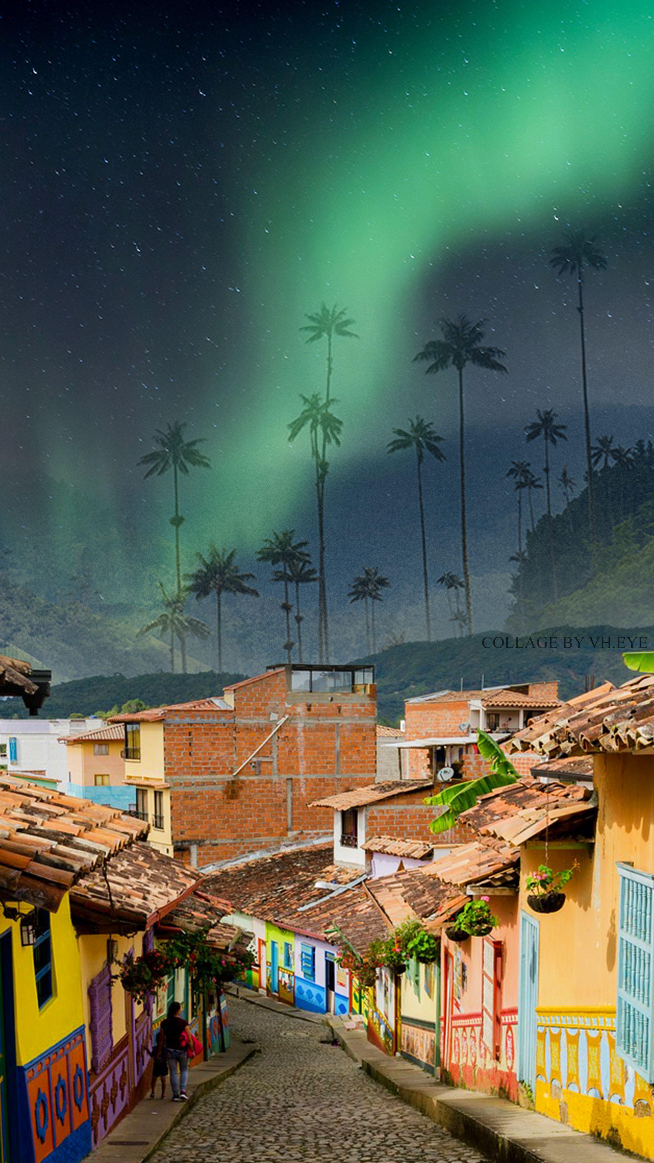 Colombia Valle De Cocora Wallpaper Iphone Android Collage Art By Vh Eye Northern Lights Aurora Borealis Mit Bildern