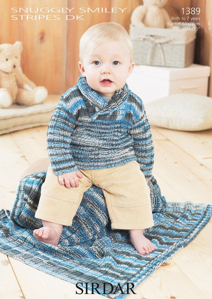 Sweater and Blanket in Sirdar Snuggly Smiley Stripes DK - 1389 ...