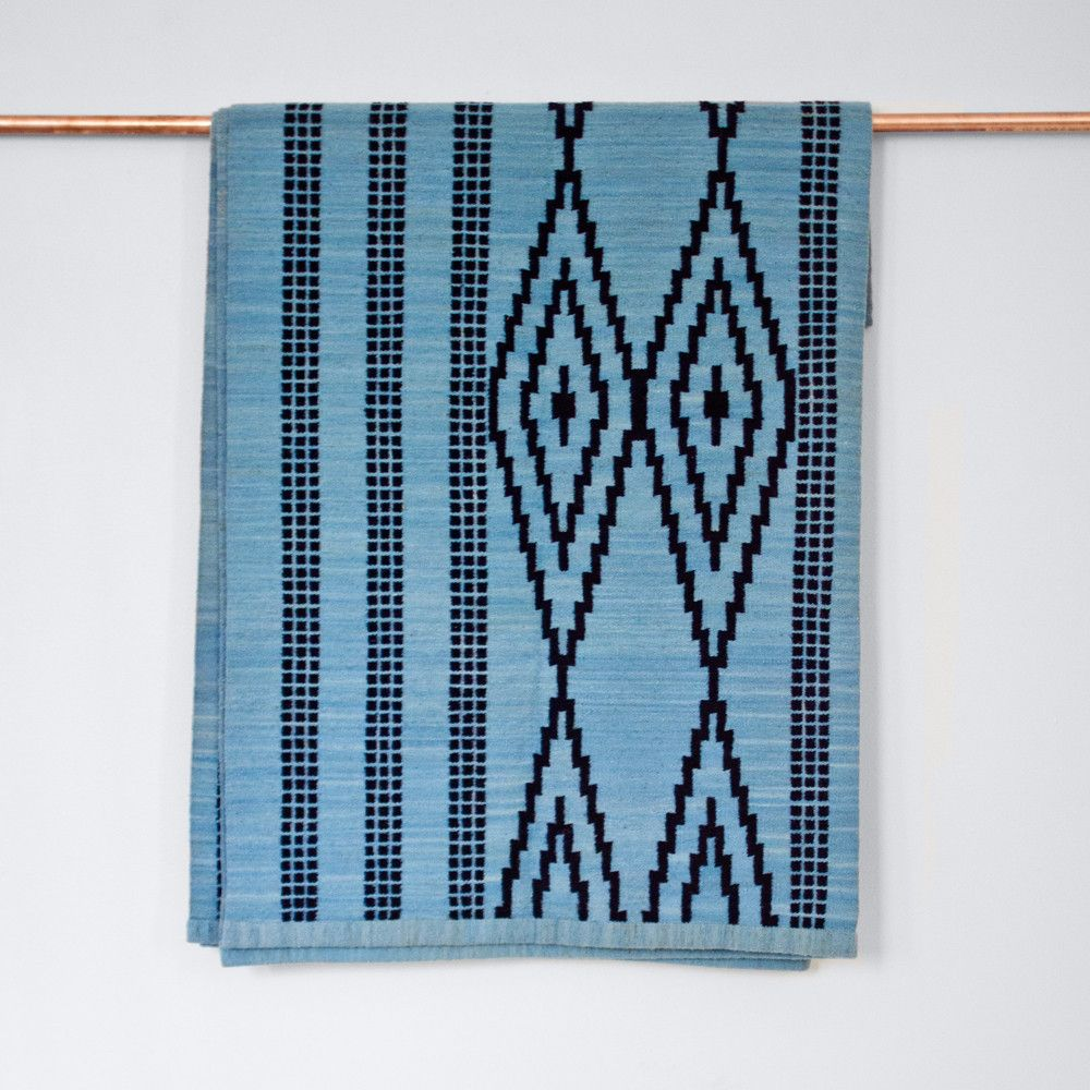 Made By Fair Trade S This Blue Handwoven Flat Weave Area Rug Artfully Mi Geometric