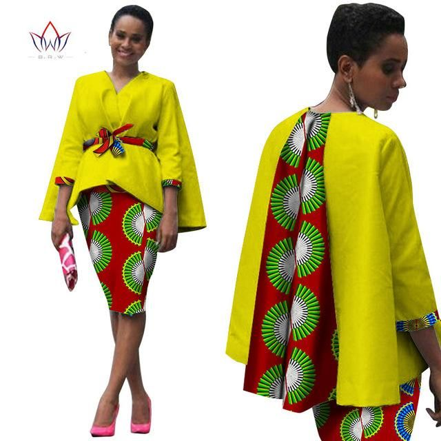799ba71a48abf Africa Style Women African Clothing  2 Piece Set Dress Suit for Women Tops  Jacket and