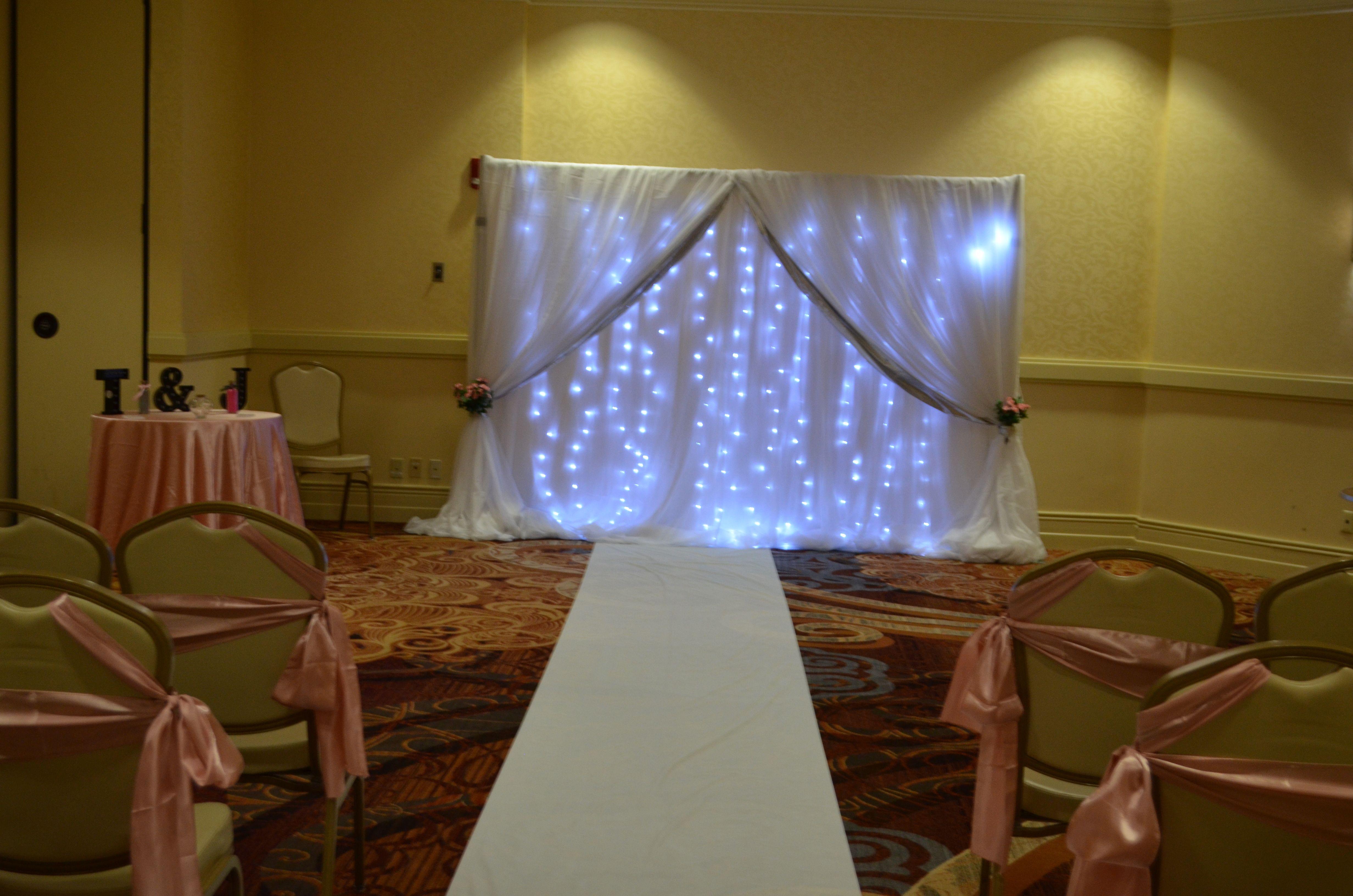 White Silver Fairy Light Wedding Ceremony Reception Backdrop Rental Buffalo NY