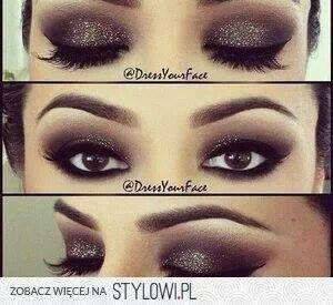 Sparkly intense brown smokey eyes... so gorgeous