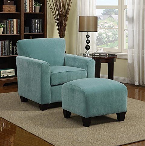 Blue velvet and wood is a classic combination and timeless. This light blue velvet accent chair with ottoman is comfy and gorgeous.