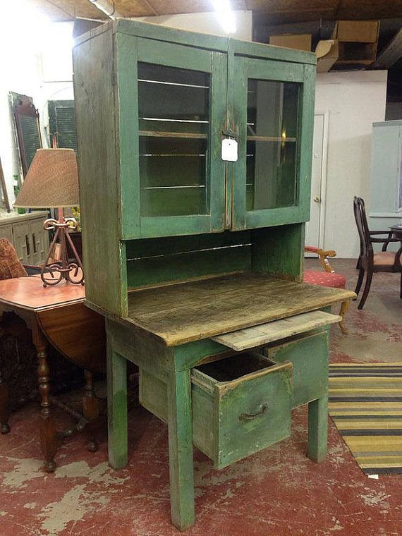 Early 1800s Antique Milk Paint Green By Blueskylanedesigner Primitive Furniture Primitive Kitchen Cupboard