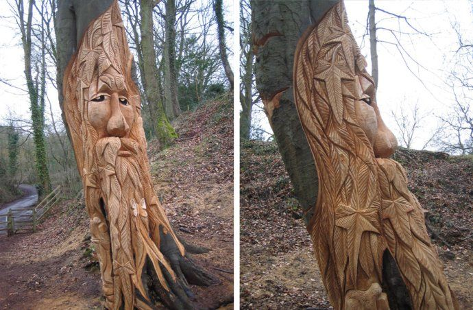 Chainsaw carving face carving faces woodworking furniture