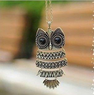 Min. order $9(mix order) Free Shipping Female Design Vintage Owl Long Necklace XL271 US $0.97