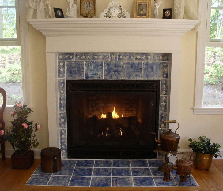 Tile Fireplaces Design Ideas modern fireplace mantel ideas living room Blue Marble Tile Fireplace Mantel Surround Also Antique Bronze Teapot Set As Well As