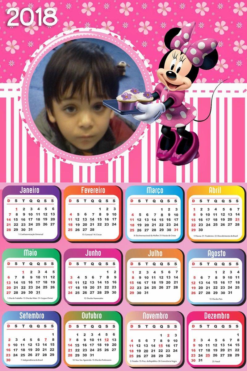 Calendário 2018 para imprimir com a Minnie e sua foto  08a685372c604