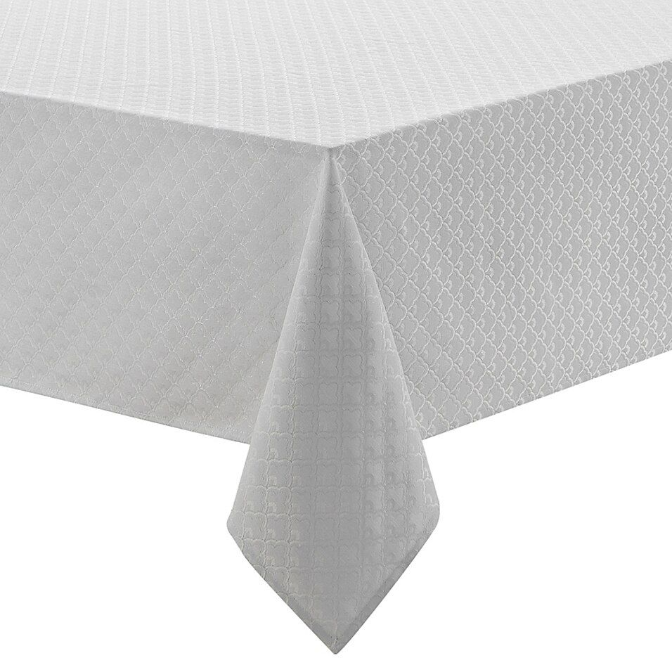 Waterford Linens Ember 70 X 126 Oblong Tablecloth In White In