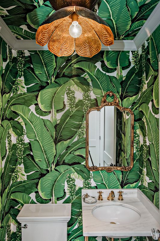 Powder Room with bold organic wallpaper and light fixture   Edward ...