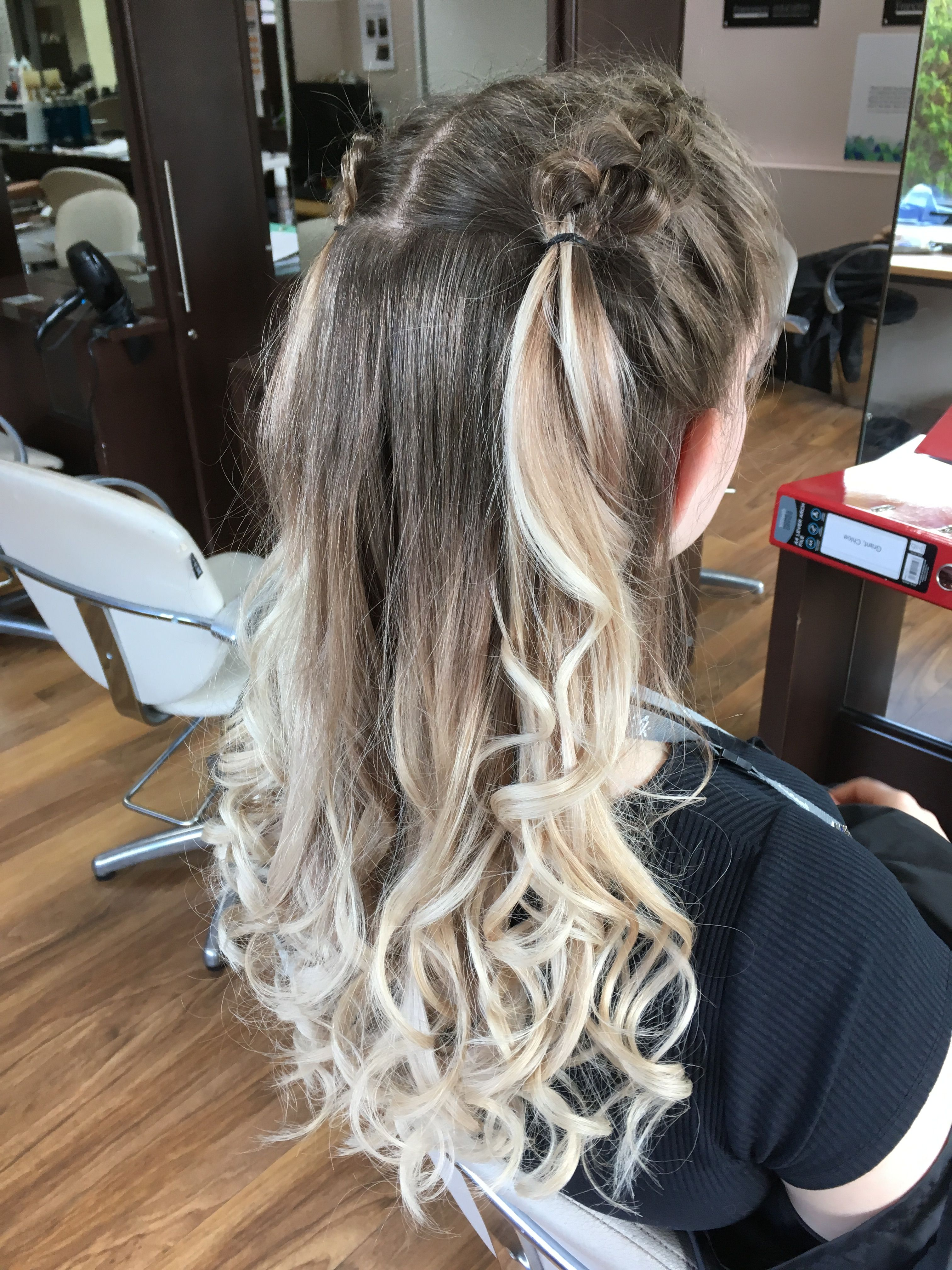 Portfolio Ref 24 Service Curled With Straighteners Dutch Braided The Top Section To Create A Half Up Half Up Hair Two Braid Hairstyles Braided Prom Hair