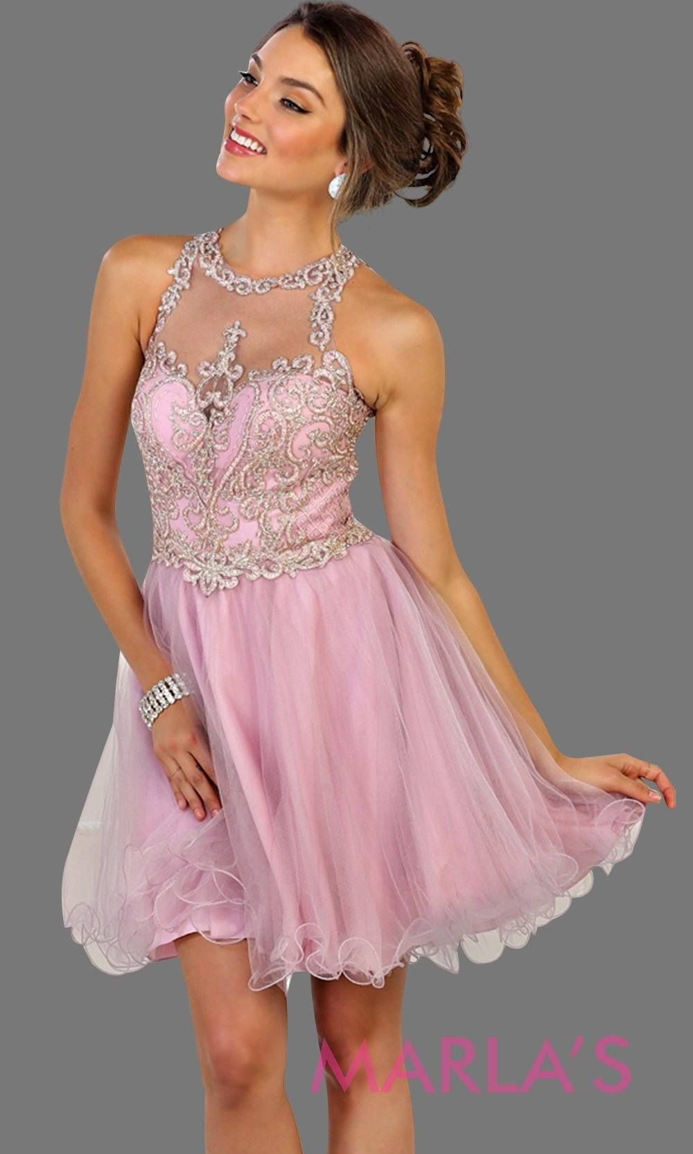 86afb8fe5a8 Short high neck puffy mauve dress with lace top. Perfect for grade 8 grad