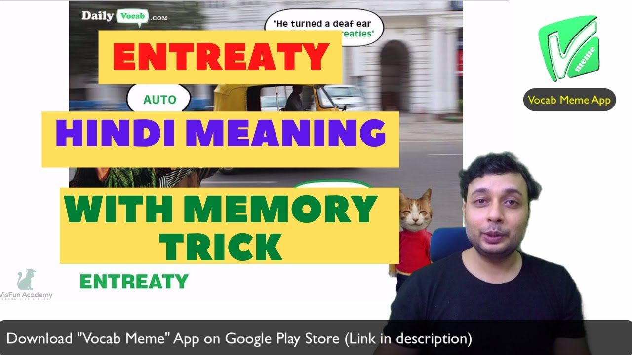 Entreaty Meaning In Hindi English Meaning Word Usage With Memory Trick By Vocab Meme Le Vocab Word Usage Learning English Online