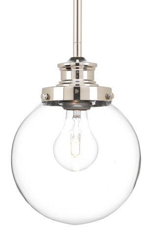 Bathroom Light Fixtures Used mini pendant with round glass globe :: small pendants <br>(used in