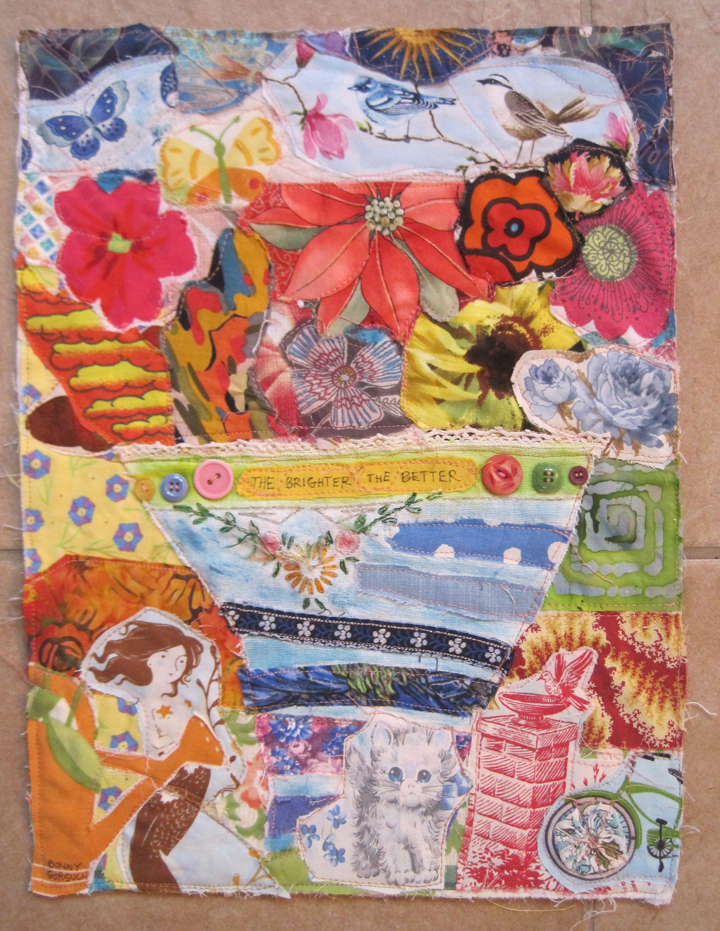 my bonny BRIGHT FLOWERS Cottage Garden Folk Art - Fabric Collage ... : quilt materials - Adamdwight.com