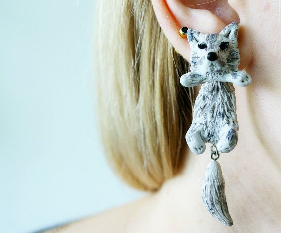 Fake Gauge Plug Two Part Earrings Wolf By Jewelryandpleasure 19 00