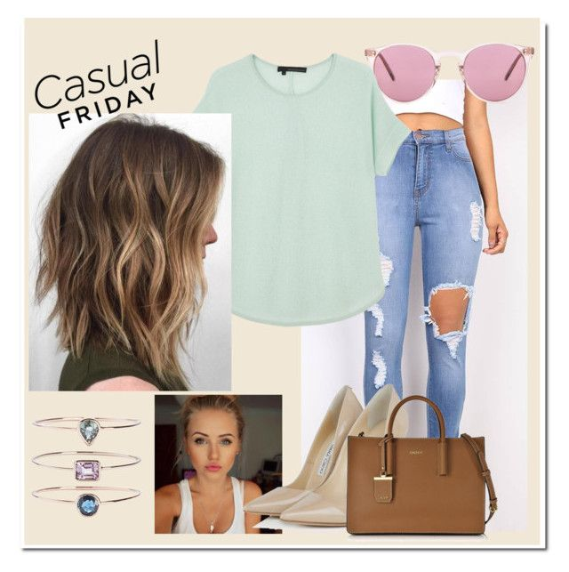"""""""Sem título #90"""" by i-love-modas on Polyvore featuring moda, Oliver Peoples, 360 Sweater, Jimmy Choo, DKNY e 19Fifth"""