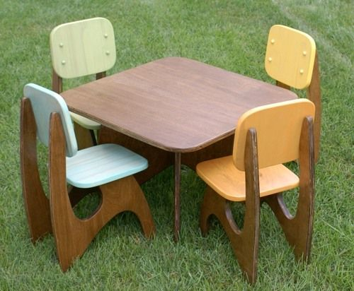 Etsy Finds Modern Child Table Set Vintage Modern Design For Kids And The Home Modern Kids Table Wooden Childrens Table Wooden Table And Chairs