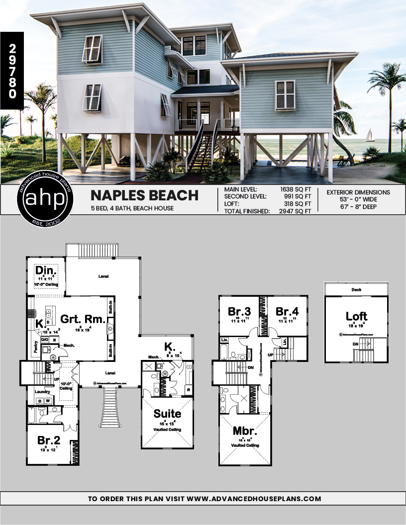 Coastal Beach House Plan Naples Beach Beach House Floor Plans Beach House Plan Beach House Plans