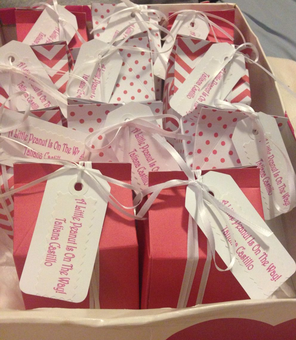 Grey and pink elephant baby shower. Peanut filled milk carton favors ...