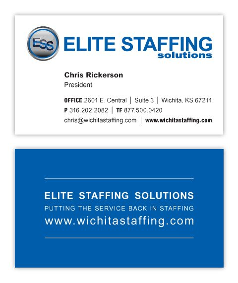 Ess Business Cards Designer Chris M Moore Client Elite Staffing Solutions Business Card Design Examples Of Business Cards Business Card Gallery