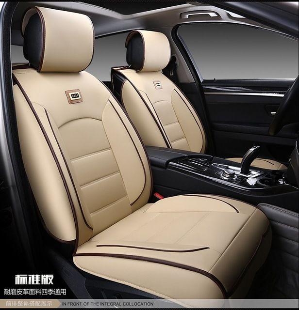 Beige Coffee Red Black Waterproof Soft Pu Leather Car Seat Covers