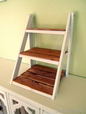 Mini Ladder Shelf Feature By Sawdust And Embryos With Images Ladder Shelf Ladder Display Bookshelf Design