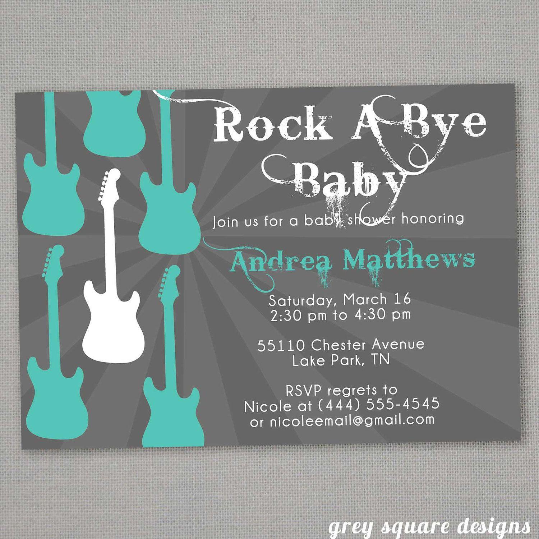 Rock Star Baby Shower Theme   RockABye Baby Shower Invitation by ...