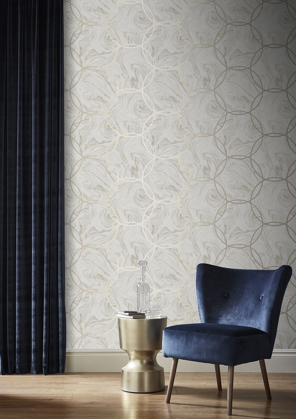 Add A Touch Of Modern Luxe With Aqueous Geo Taupe Wallpaper This Stunning Neutral Marble Is Showcased Geometric Gold Metallic Circles On Beautiful
