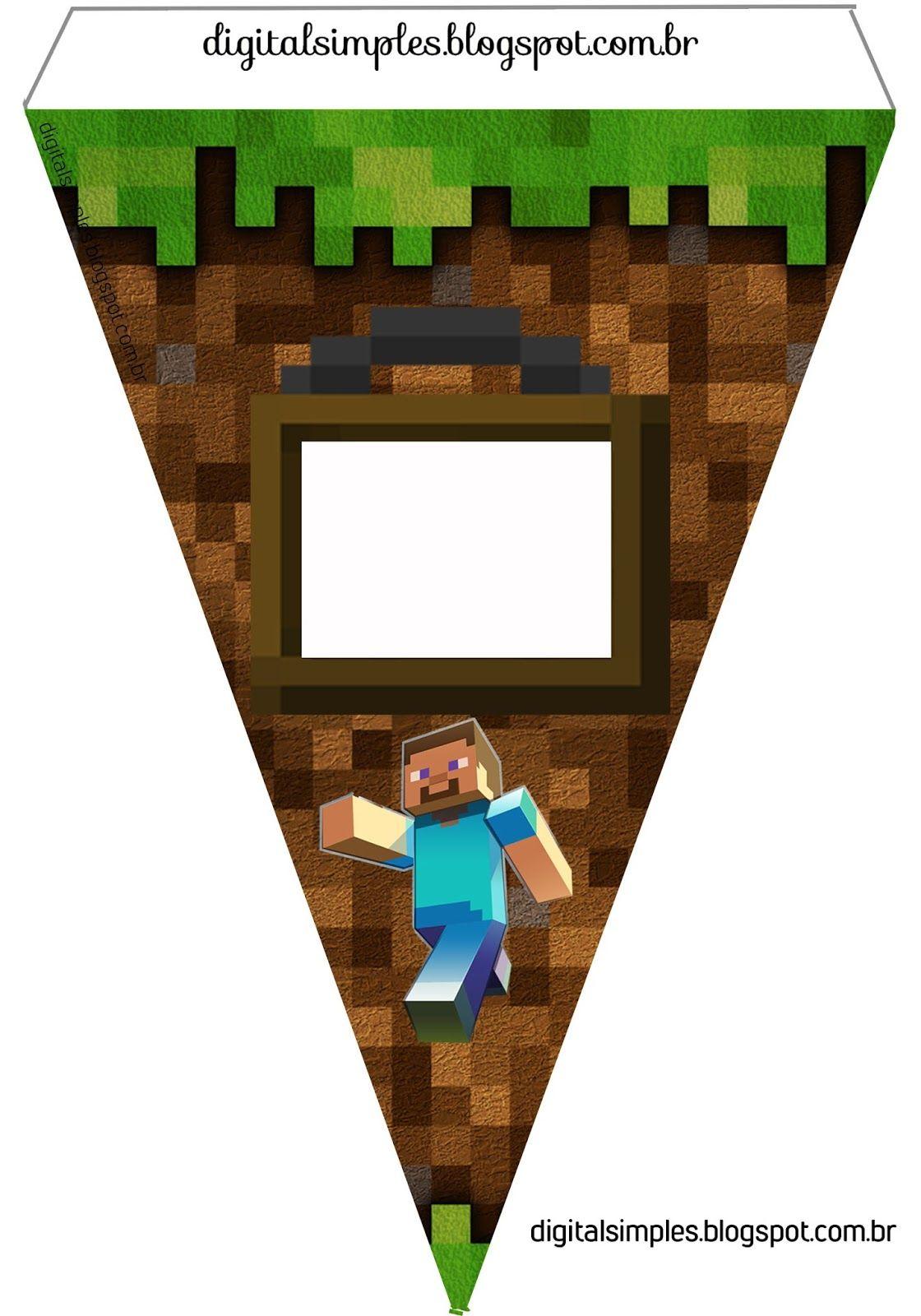 Festa Aniversario Digital Minecraft Para Imprimir Com Imagens