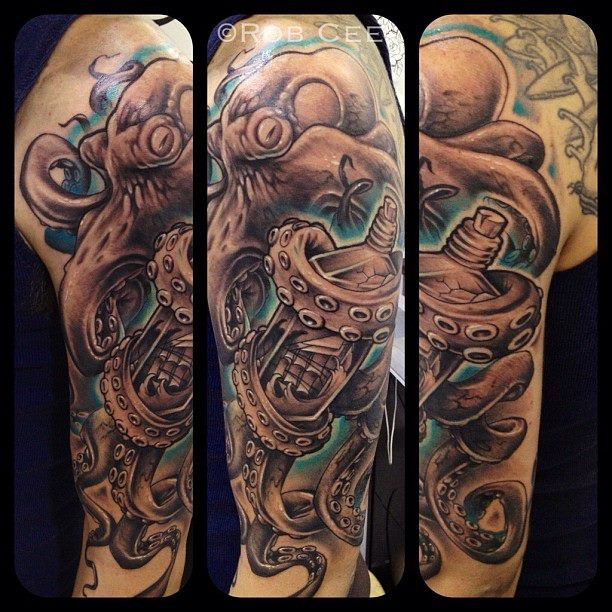 octopus and a ship in a bottle done by rob c valley ink brisbane australia brisbane. Black Bedroom Furniture Sets. Home Design Ideas