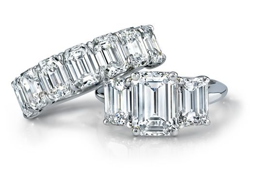 Emerald cut, 5.19 carat diamond, half eternity band. Engagement Collections Garrard