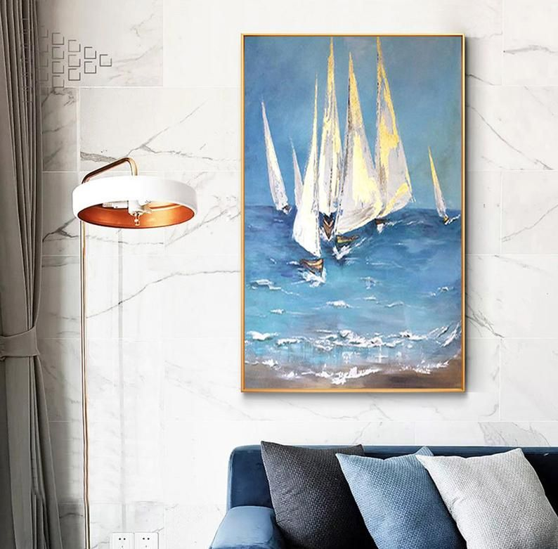 large abstract ocean painting coastal painting sailboat painting blue sea abstract painting seascape painting landscape painting on canvas