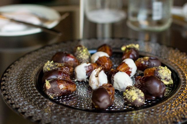 My new obsession - almond stuffed dates covered in chocolate - dried figs dipped in choclate