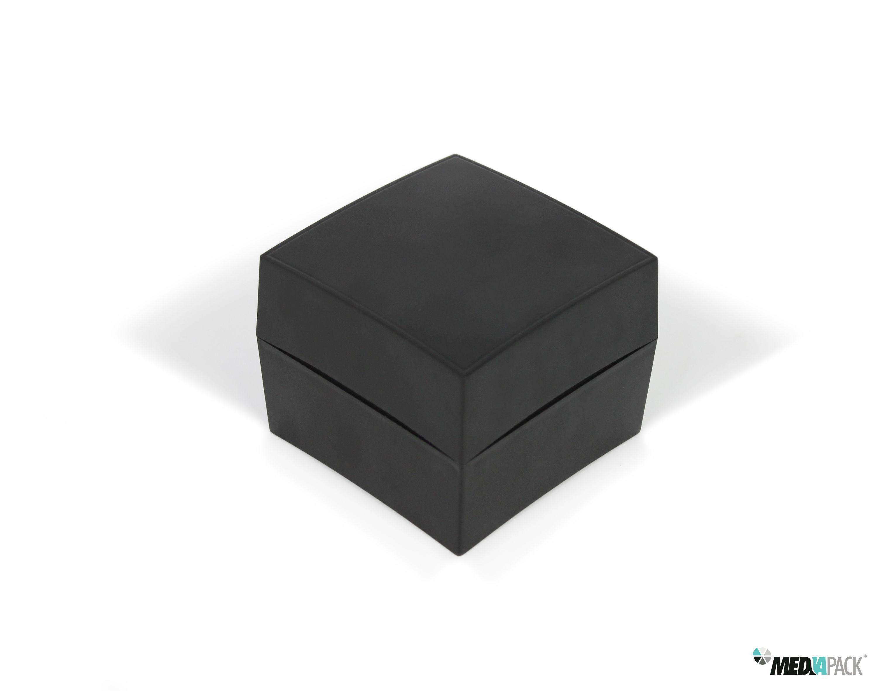 Caja negra de plástico con esponja dentro para colocar un reloj. #envase #plastico