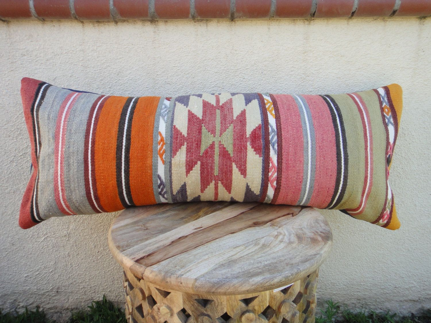 Large Kilim Lumbar Pillow Cover 14 X 36 By Pippitypow On Etsy
