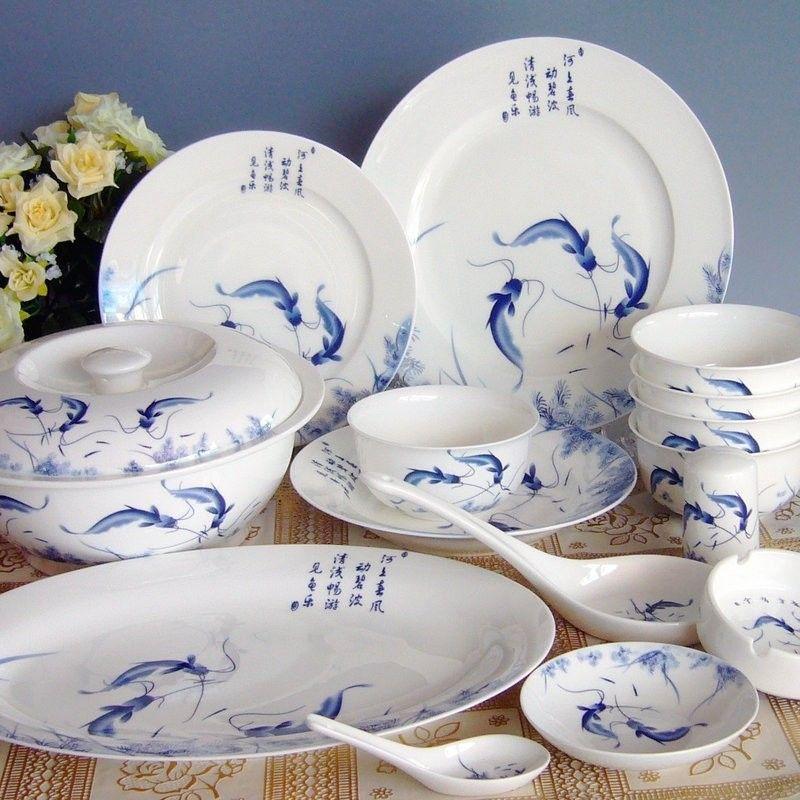 Jingdezhen Bone China Tableware Set 56 First Premium Grade Ceramic Tableware Bowl Years Fish Tableware Ceramic Tableware Tableware Set