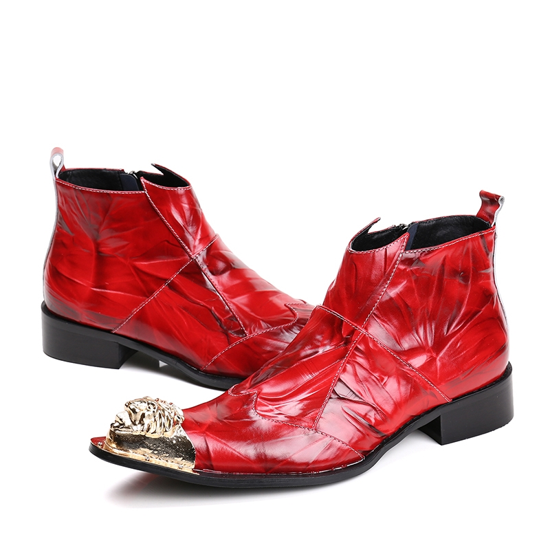 98.34$  Watch now - http://alizi9.worldwells.pw/go.php?t=32778445792 - New Fashion 2017 Mens Brand Designer Genuine Leather Ankle Boots Red Nightclub Party Shoes Hair Salon Pointed Toe Shoes Big Size