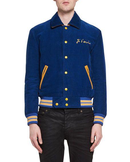 SAINT LAURENT Je T'Aime Teddy Corduroy Bomber Jacket, Blue
