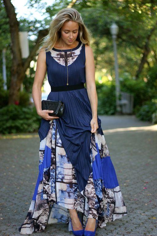 BCBGMaxAzria Charlotte long color-blocked maxi pleat dress, Zara pumps, vintage Chanel purse, Jennifer Zeuner necklace and JewelMint ear cuff. Perfection.