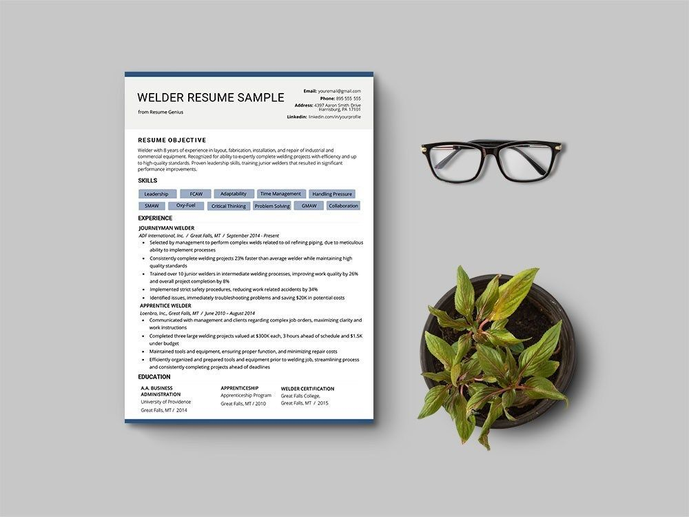 Free welder cv resume template in 2020 cv resume